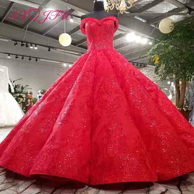Vestido de boda AXJFU de lujo de princesa con cuentas de cristal y flores de encaje rojo, vestido de novia vintage con cuello de barco brillante con volantes 3392