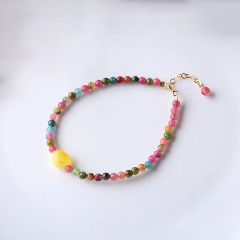 Colorful Tourmaline Natural Stone Bracelets Round Beads Tourmaline With Yellow Crystal Charm Bracelets for Women Fashion Jewelry