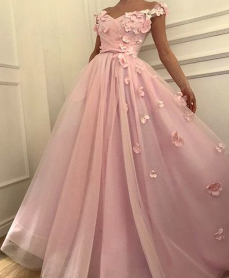 2019 New   Prom     Dresses   Off the Shoulder   Prom     Dress   Flowers Appliques Evening Gowns Ball Gown abiye gece elbisesi