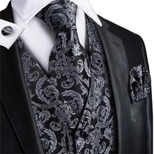 Vest for Men Black Suit Floral Waistcoat Slim-Fit Tuxedo Paisley Tie Set Cufflinks Gift Wedding Business Hi-Tie VE-0011