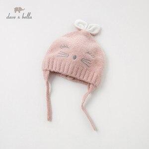 Image 1 - DB11792 dave bella jesienno zimowa dziewczynka żakardowa bawełna wełniana czapka