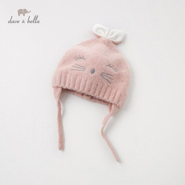 DB11792 dave bella jesienno zimowa dziewczynka żakardowa bawełna wełniana czapka