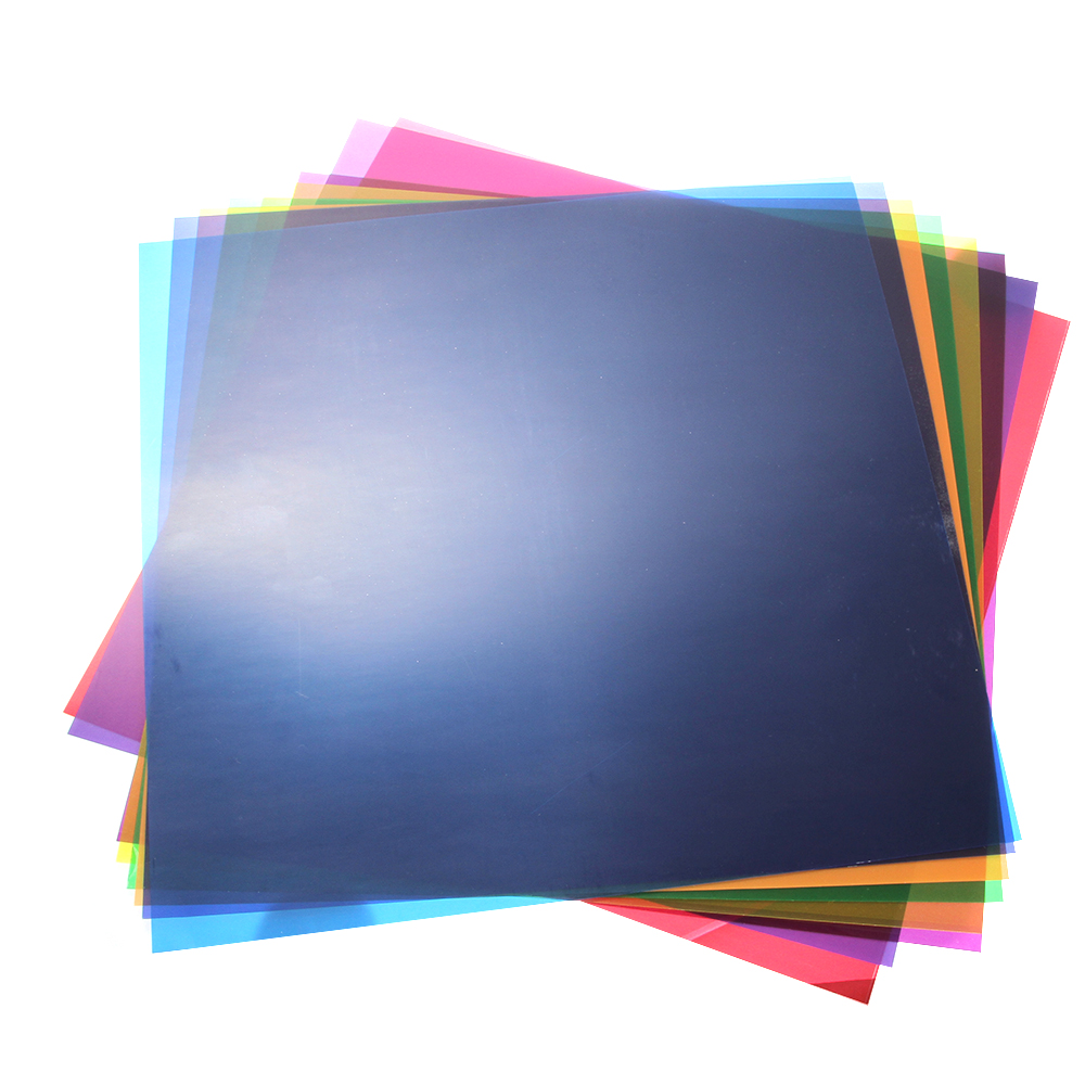 "12""x12""/30x30cm Transparent Lighting Filter Gel Correction Sheets for Video Camera Studio Strobe Flash Light 8 Colors"