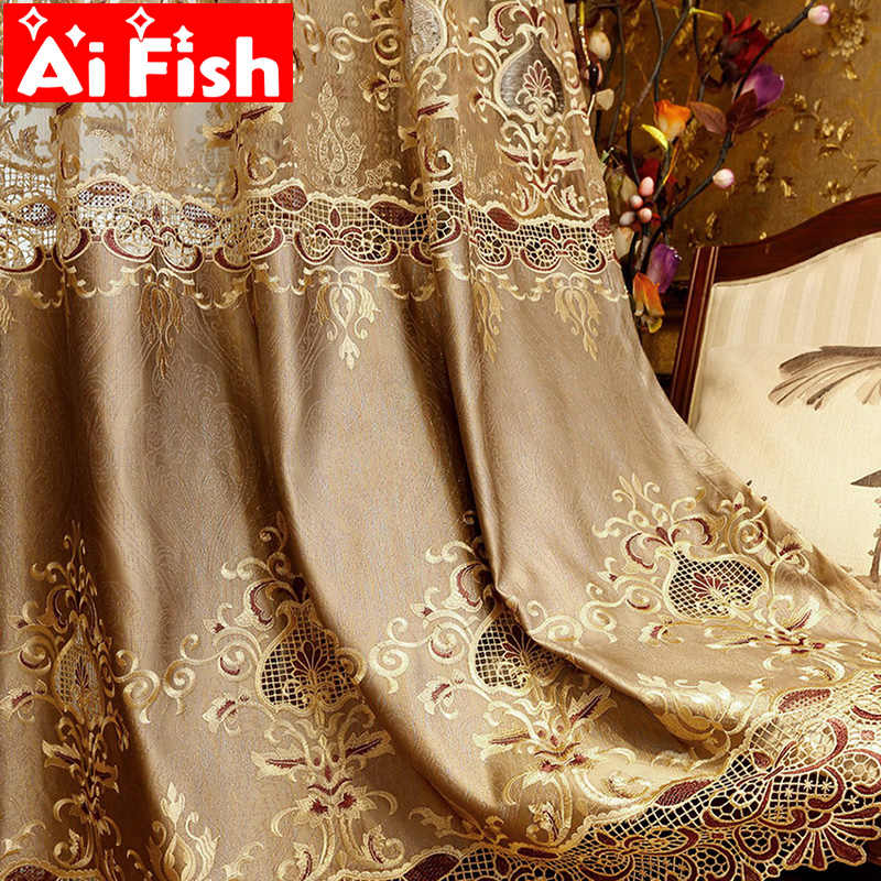 Luxury European Gold Water Soluble Embroidery Blackout Curtains For Living Room Villa Bedroom Tulle Drape Curtain Decor M041-4