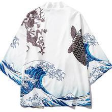 Jackets Mens Cardigan Kimono Koi Coats Streetwear Japanese-Wave Print Thin Fashion Yukata