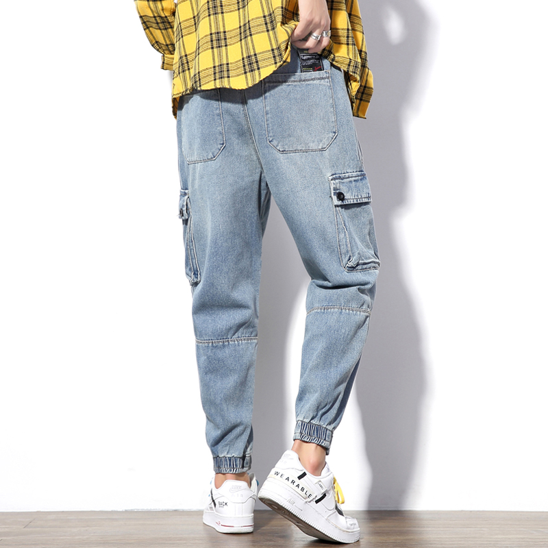 Yasword Men Jeans Pants Trousers Straight Ankle Length Solid Color Casual Fashion Loose Male Elastic Waist Clothing Streetwear in Jeans from Men 39 s Clothing