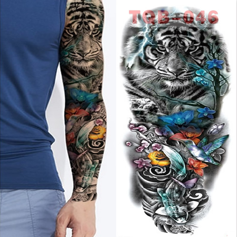 Lion Tiger Large Arm Sleeves Waterproof Temporary Tattoo Sticker Man Women  Fake Color Totem Tattoo Stickers Body Art Leg Arm