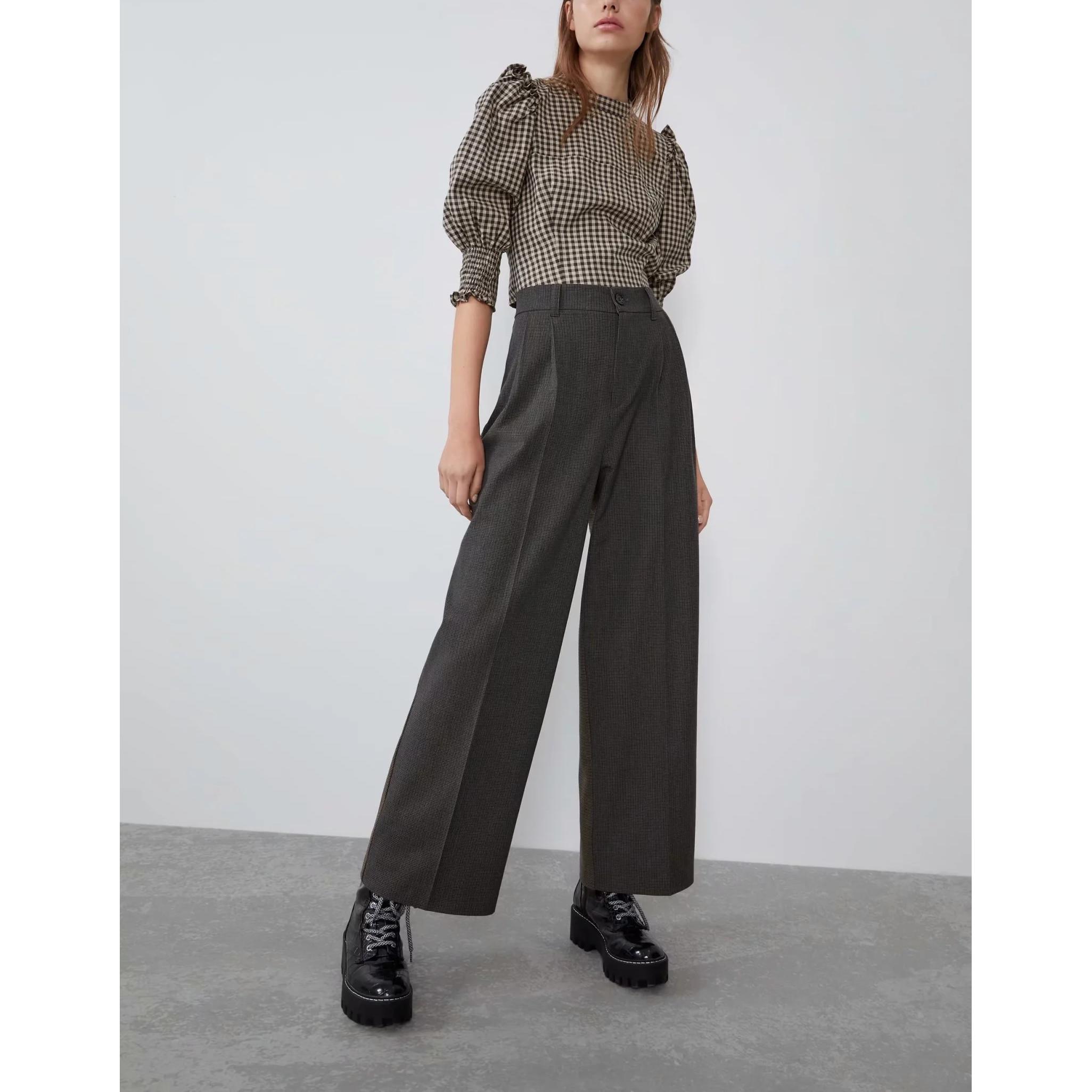 2019 Autumn Winter Stitching Plaid Pants Women Fashion Chic Ladies Suit Pants High Street ZA Style