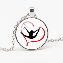 New Fashion Rhythmic Gymnastics Pendant Necklace Photo Jewelry Glass Cylindrical Crystal Sports Couple Gift