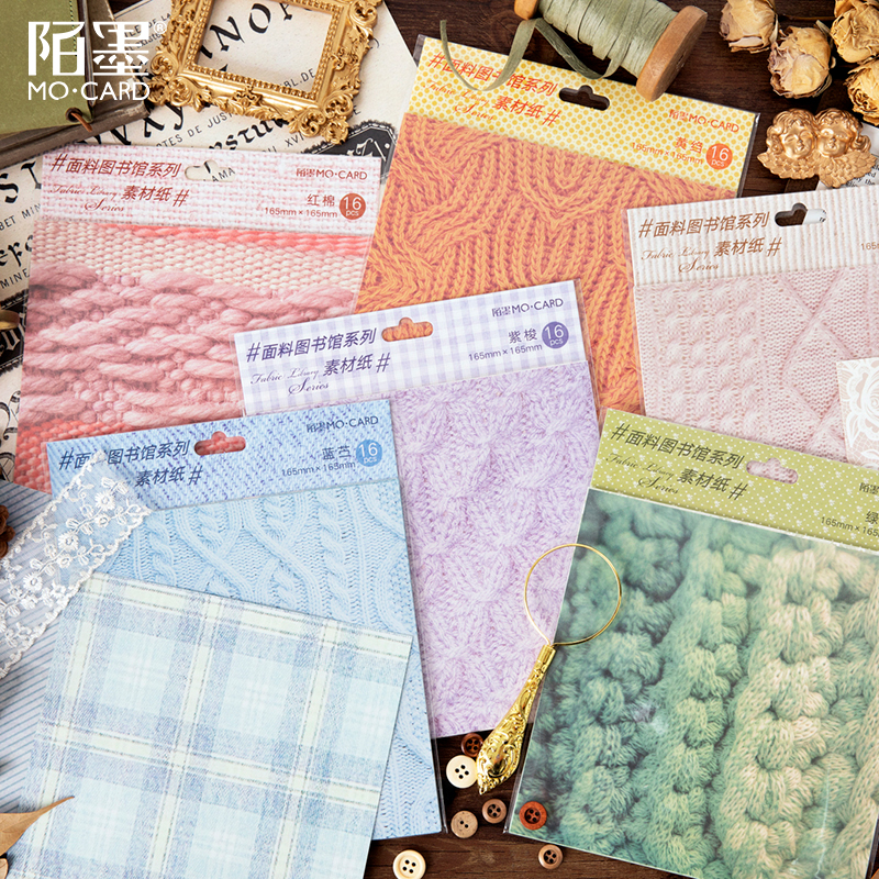 16 Pcs/lot Fabric Library Series Material Paper Decorative Scrapbooking Label Diary Stationery Album Salt Retro Lattice Paper