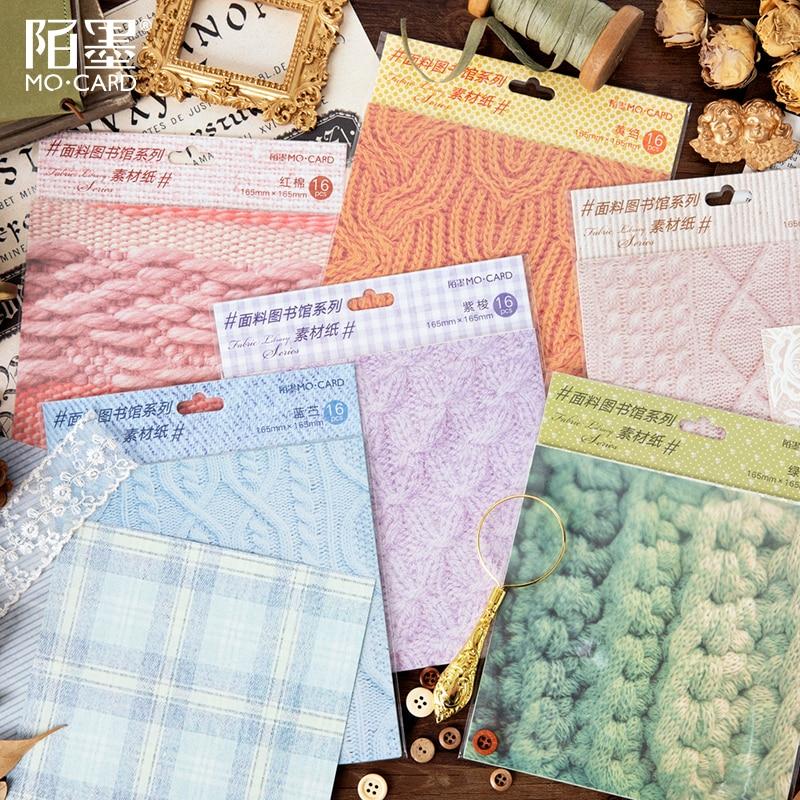 16 Pcs/lot Fabric Library Series Material Paper Decorative Scrapbooking Label Diary Stationery Album Salt Retro Lattice Paper