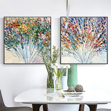 Handpainted designed flower picture BRIGHT Colorful abstract Knife oil Painting on Canvas thick Modern Original fashion Wall Art