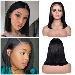Corto Peluca de pelo Bob pelo virginal brasileño pelo recto frente de encaje de pelo natural humano pelucas para mujeres negras 13x4 parte de encaje 150% densidad