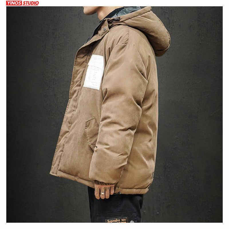 Dropshipping 2019 zima Streetwear zagęścić kurtka z kapturem japoński portmonetka vintage płaszcze męskie na świeżym powietrzu ładunku ocieplenie topy