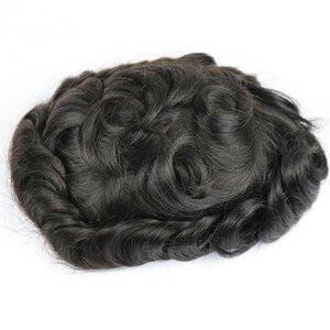 Image 3 - Stock Parrucche dei capelli Umani Per Gli Uomini toupee degli uomini Dei Capelli Top Pezzo Super Sottile Parrucchino Pelle Peruviana Dei Capelli di Remy Confortevole mens Parrucca
