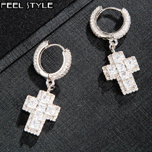 Hip Hop 1Pair Iced Out Baguette Zircon Cross Drop Dangle Hinged Stud Earring Rock For Men Jewelry