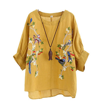 Blouse Plus size Women Tops Loose Embroidered Blouse Shirt Vintage Batwing sleeve Cotton Casual 5