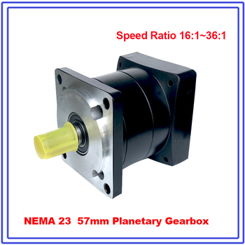 16:1 Nema23 Stepper Motor Gearbox Speed Ratio Flange 57mm Planetary Gearbox Reducer 8mm Input 14mm Output Shaft