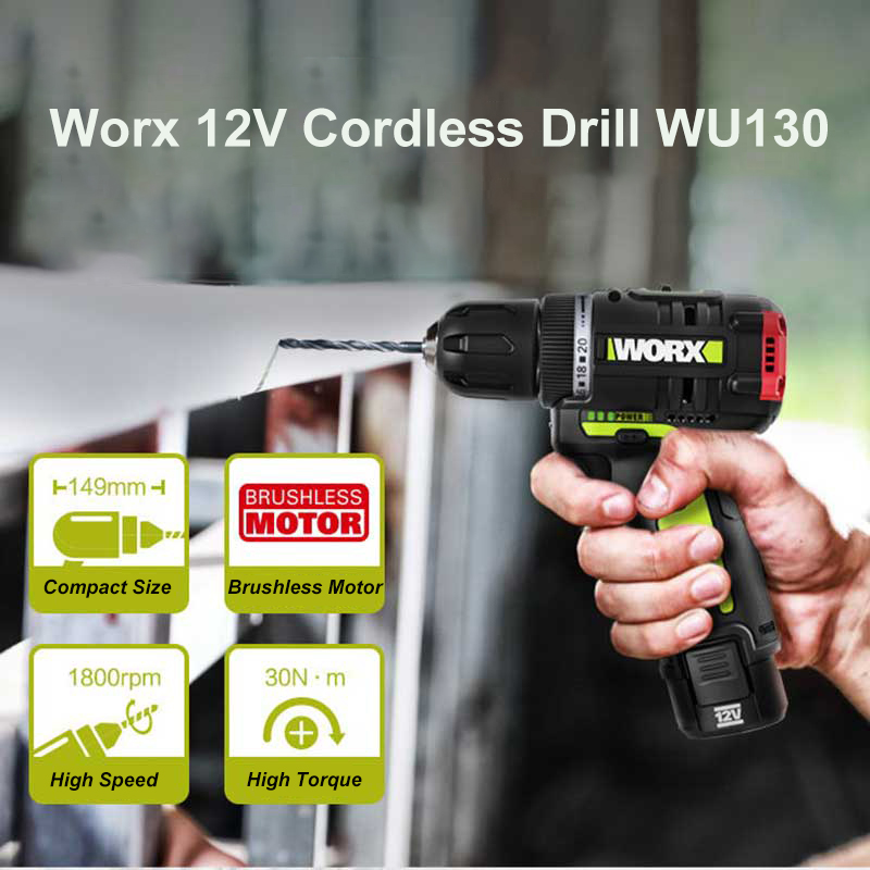 WORX WU130 12V Brushless Motor Drill Cordless Electric Drill Screwdriver 30N m Power Tools