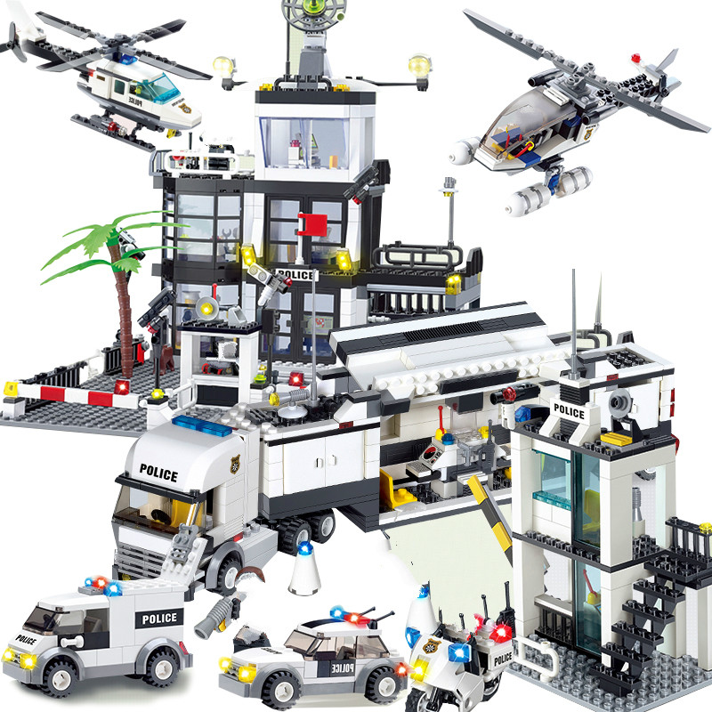 Kids Toys Compatible Legoinglys City Street Police Station Sets Car Truck Rescue Creative Model Building Block Cop Vehicle Brick