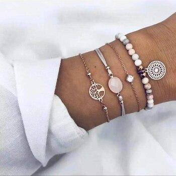 20 Styles Women Girls Mix Round alloy Crystal Marble Charm Bracelets Fashion Boho Heart Shell Letter Bracelets Sets Jewelry Gift 18