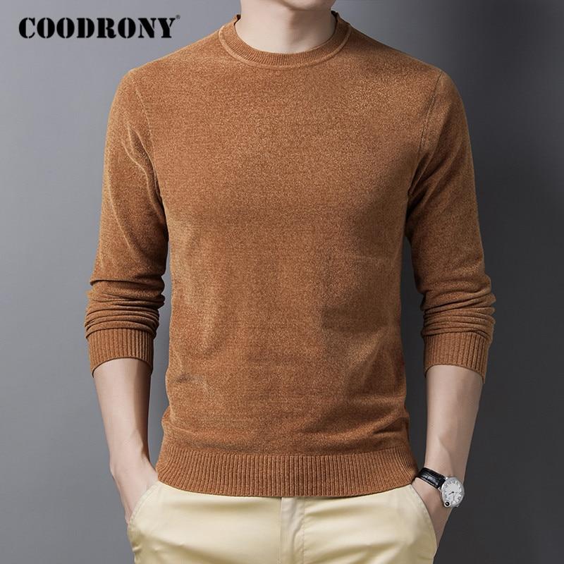 COODRONY marka kazak erkekler sonbahar kış sıcak çekme Homme 2020 yeni varış saf renk o-boyun kazak erkekler triko Jumper C1174
