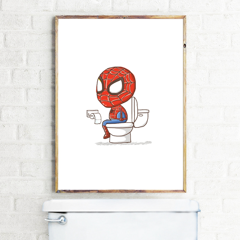 Spiderman Superhero Pooping Toilet Boys Bathroom Print Wall Art Picture Decor Funny Poster Art Canvas Painting Decorations