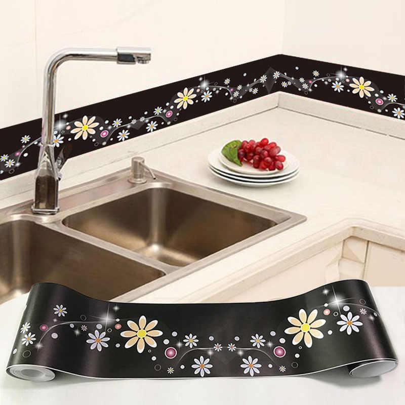 3D קיר מדבקת PVC עצמי דבק עמיד למים נשלף פרחי טפט גבול מטבח אמבטיה בעיטות קו בית תפאורה מדבקה