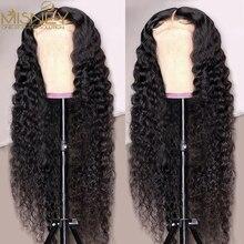 Perruque Lace Front Wig Deep Wave brésilienne Remy, cheveux naturels, 13x4, pre-plucked, pour femmes, 32 pouces