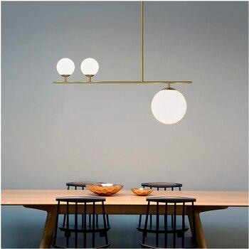 Modern simple frosted glass ball lampshade LED chandelier indoor lighting kitchen restaurant ceiling black gold  pendant lights - discount item  30% OFF Indoor Lighting