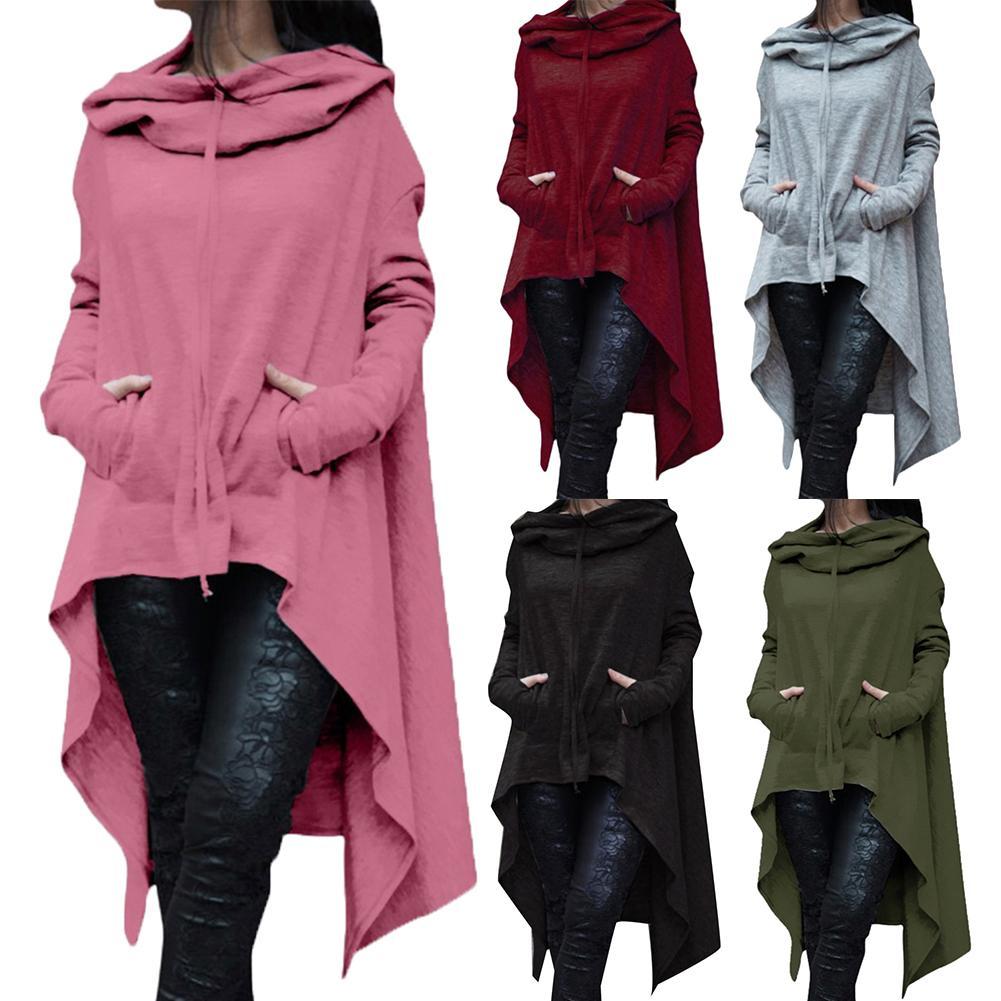 Winter Cotton Blend Women Solid Color Asymmetric Hem Drawstring Hooded Sweatshirt Loose Poncho Coat For Women Hooded Sweatshirt
