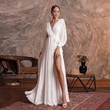 Jiayigong Simple vestido de novia Sexy cuello V manga larga gasa llanura una línea vestido para boda en la playa hendidura vestidos de novia