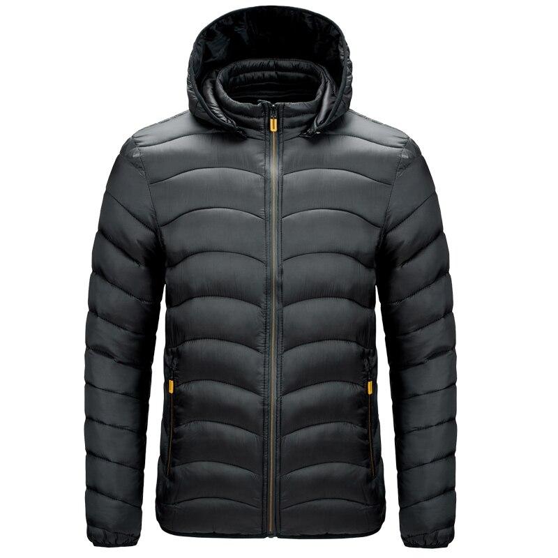 Куртка мужская демисезонная с воротником-стойкой, теплая легкая парка на белом утином пуху, тонкий пуховик с капюшоном, повседневная одежда