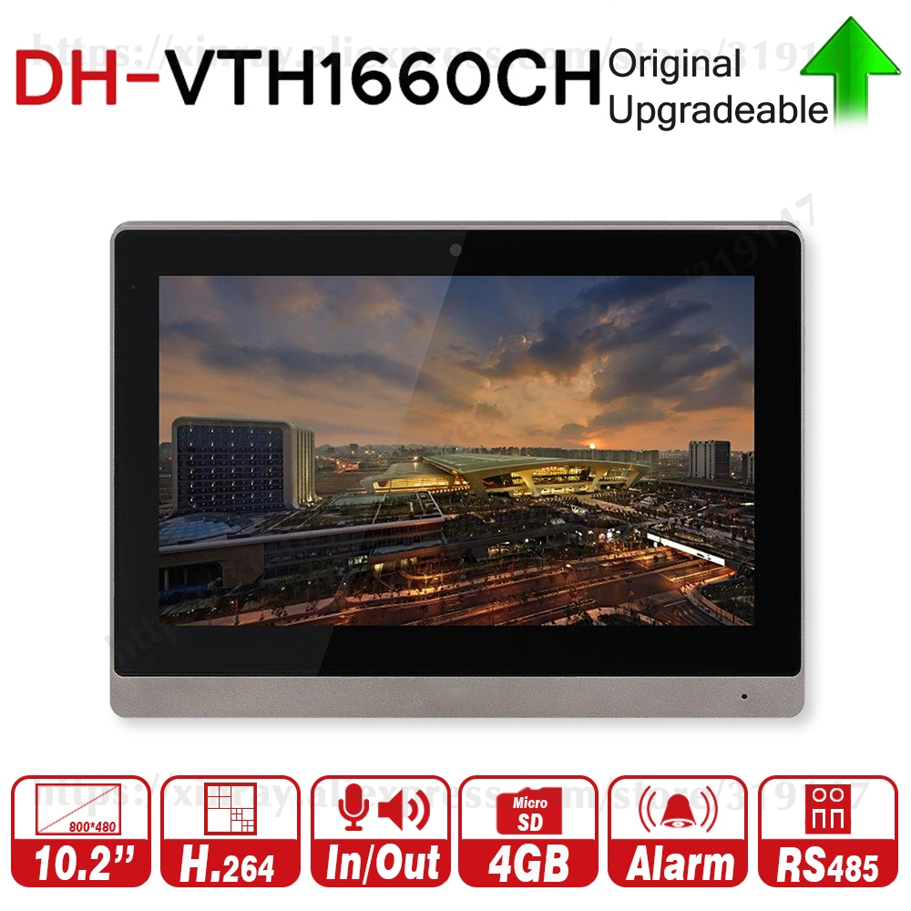 Dahua Original VTH1660CH Indoor Monitor 10-inch 800*480 Resilution Touch Screen Color IP Video Intercom.