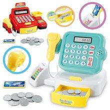 Дети ролевые игры домашние игрушки Мини супермаркет Касса игрушки рассчитать девушки подарки со звуком и светильник кассовый аппарат Игрушка