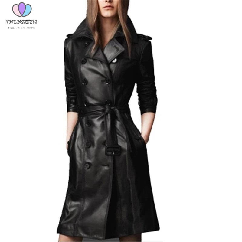 2019 Autumn Winter Women   Leather   Jacket double-breasted Coat pu faux   leather   Jacket Medium long Trench Coat Outwear FO48