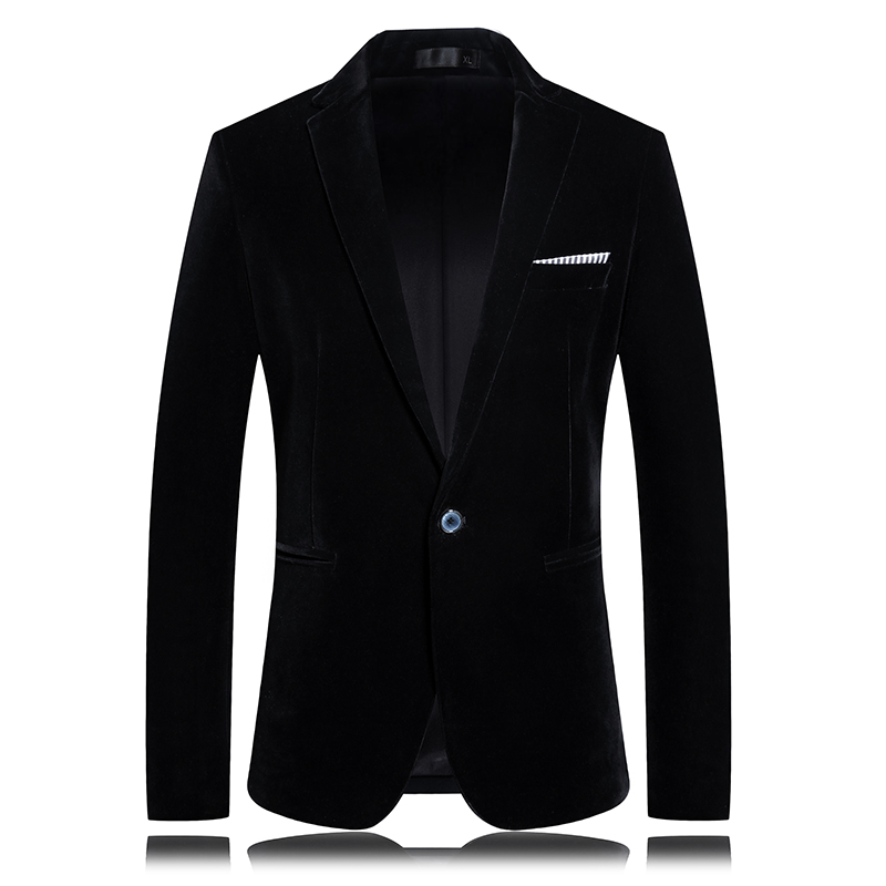 Autumn And Winter Velvet Men's Luxury Blazer Fashion Banquet Dress Suit Jacket Slim Texture High Quality Blue Suit Coat 3XL