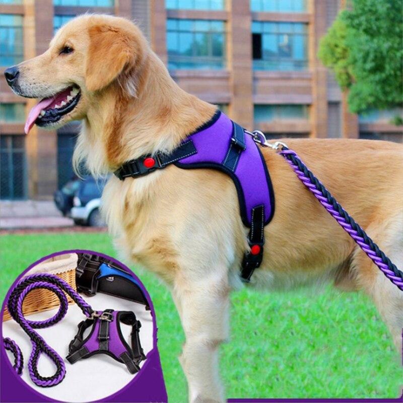 2020 Nylon Heavy Dog Pet Harness Collar Extra Big Large Medium Small Dog Harnesses Vest Leash Rope Set Husky Dogs Supplies