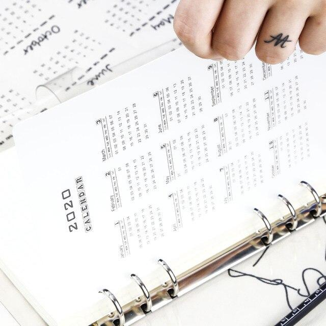 6 Holes PVC Spiral Binder Planner Divider Inner 2020 Calendar for Notebook And Journals Organizer A5 A6 Index Loose Leaf 2