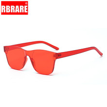 RBRARE Holiday Candy Color Sunglasses Women High Quality Rimless One-piece Sun Glasses Modis Transparent Street Beat Okulary