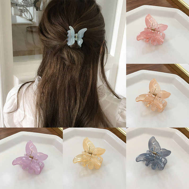 Mini Butterfly Hair Claw For Women Girls Acrylic Hair Accessories Scrub Black Hair Claw Clips Crab For Hair Simple Hair Clamps