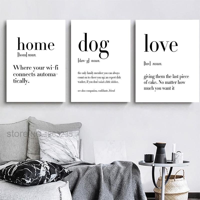 Casa amor cão posters citação arte da parede pintura em tela cartaz preto e branco impressão da arte imagens para sala de estar nordic decoração