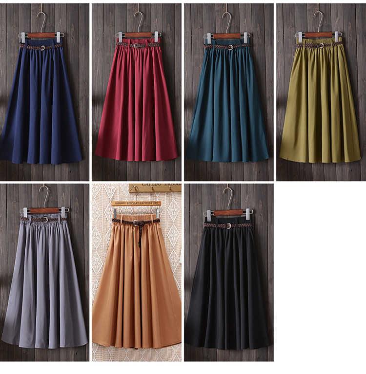 Moirlicer Midi Knee Length Summer Skirt Women With Belt 2019 Fashion Korean Ladies High Waist Pleated A-line School Skirt Female