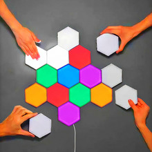EU US UK Helios Touch Wall Lamp Creative Honeycomb Modular Assembly Quantum Lamp LED Magnetic Decoration Wall Light Bedroom Lamp