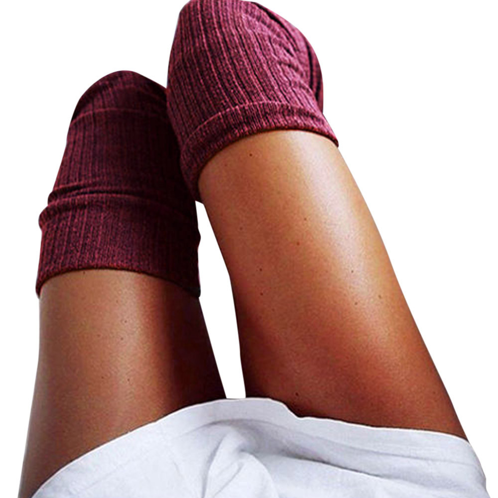 Calcetines cálidos de algodón para mujer, calcetín por encima de la rodilla, largo por encima de la rodilla