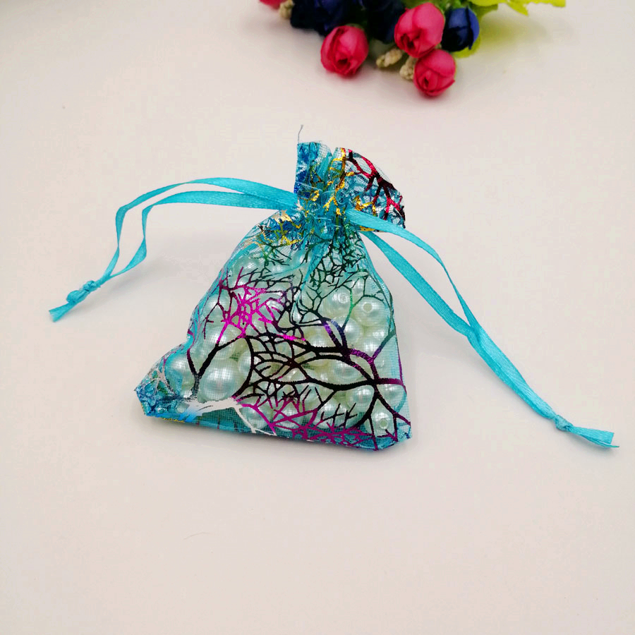 1000pcs Blue Coral Organza Bag Drawstring Pouch Bag Organizer Jewelry Box Gift For Wed Christmas Jewelry Display Packaging Bags