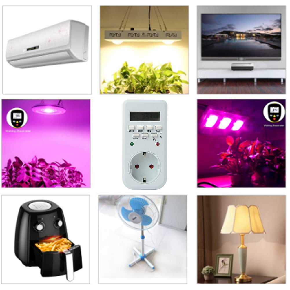 UK/EU Plug LCD Digital Timer Outlet 7 Day Programmable Wall Timer Switch Timer Switch Light Switch Timer Programmable