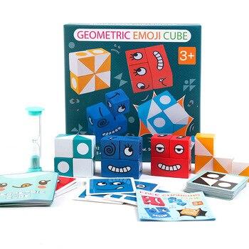 Figuras geométricas de cubo que combinan con el cambio de cara, bloques de construcción, juegos de mesa de inteligencia para padres e hijos, juguetes de nivel de reto