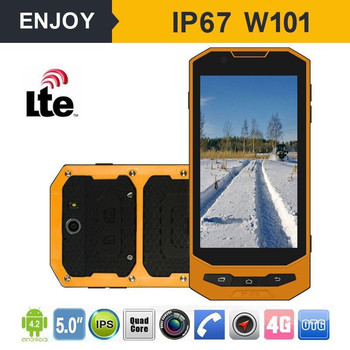 Cheap Enjoy W101 Rugged Waterproof Mobile Phone 1GB 8GB NFC 4000mAh Android 5.1 Quad Core 4G LTE 5'' IPS Screen 8MP Smartphone