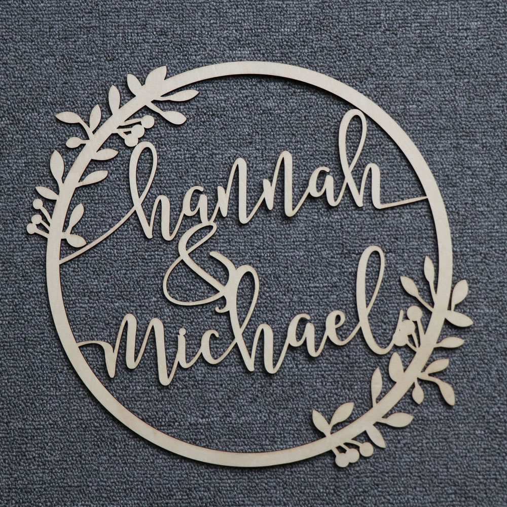 Personalized Bride and Groom Name Wedding Photo Props Wooden Wedding Decoration Centerpieces Wreath Circle Signs (4)